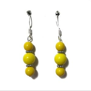 Yellow and silver beaded earrings